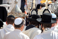 Worshipers with Sephardic Torah scrolls at Western Wall 2