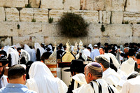 Worshipers with Sephardic Torah Scrolls at Western Wall 6