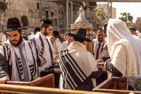 Worshipers with Sephardic Torah Scrolls at Western Wall 8