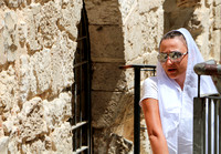 Visitor Climbs Steps Above Western Wall Plaza