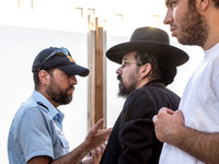 Rabbi Eliyahu Weber and Policeman in Discussion