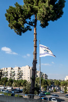 Israel Flag with Beit Hakerem in Background 190819-4