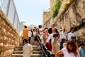 Tourists Coming Down to Western Wall