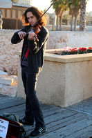 Violinist Busking at Sunset