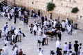 Mixed Community of People Praying at Western Wall
