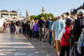 Tourists Lining Up to Visit Temple Mount